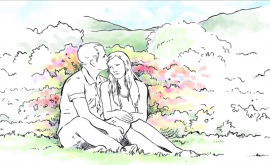 Illustration of a couple comforting each other